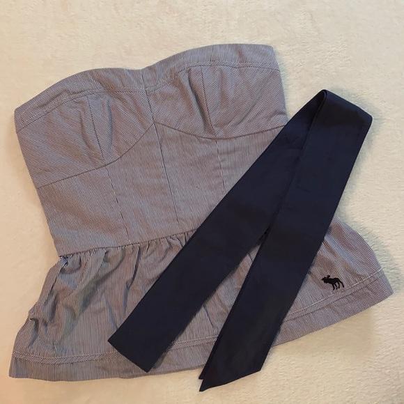 Abercrombie & Fitch Striped Strapless Peplum Top